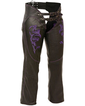 Milwaukee Leather Women's Reflective Tribal Embroidered Chaps - 3X, Black/purple, hi-res
