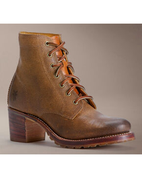 Frye Sabrina 6G Lace-Up Oiled Suede Boots, Tan, hi-res