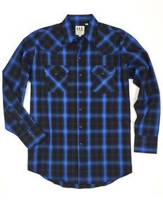 Ely Cattleman Men's Multi Herringbone Plaid Western Flannel Shirt , Multi, hi-res