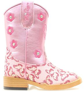 Blazin Roxx Toddler Girls' Pecos Glitter Zipper Cowgirl Boots - Square Toe, Pink, hi-res