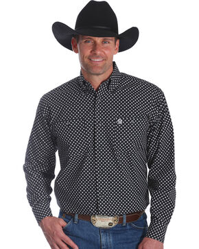 Wrangler Men's George Strait Black Printed Western Shirt , Black, hi-res