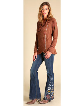 Wrangler Women's Brown Faux Suede Zip Jacket, Brown, hi-res