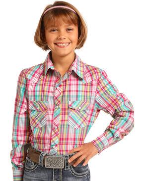 Panhandle Girls' Multi Plaid Long Sleeve Snap Shirt, Multi, hi-res