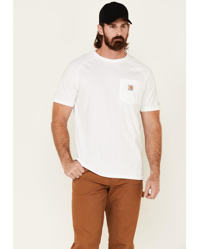 Carhartt Men's White Force Cotton Short Sleeve Work T-Shirt , White, hi-res