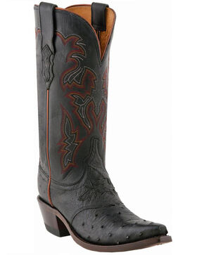 Lucchese Women's Augusta Full-Quill Ostrich Cowgirl Boots - Snip Toe, Black, hi-res