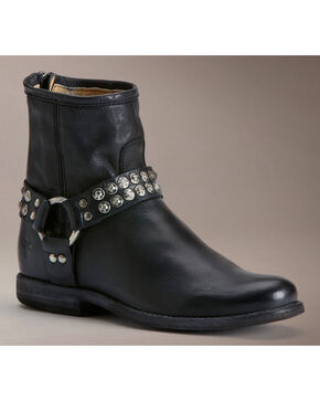Frye Women's Phillip Studded Harness Boots, Black, hi-res