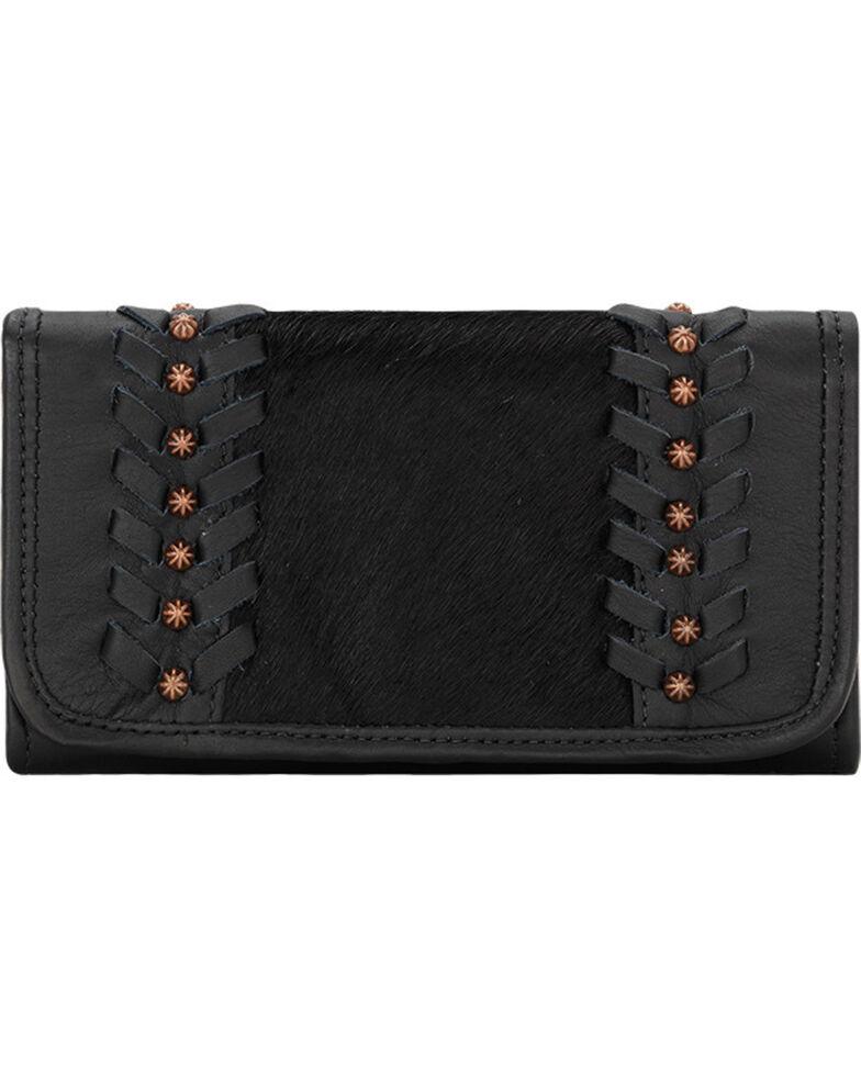 American West Women's Cow Town Black Tri-Fold Wallet , Black, hi-res