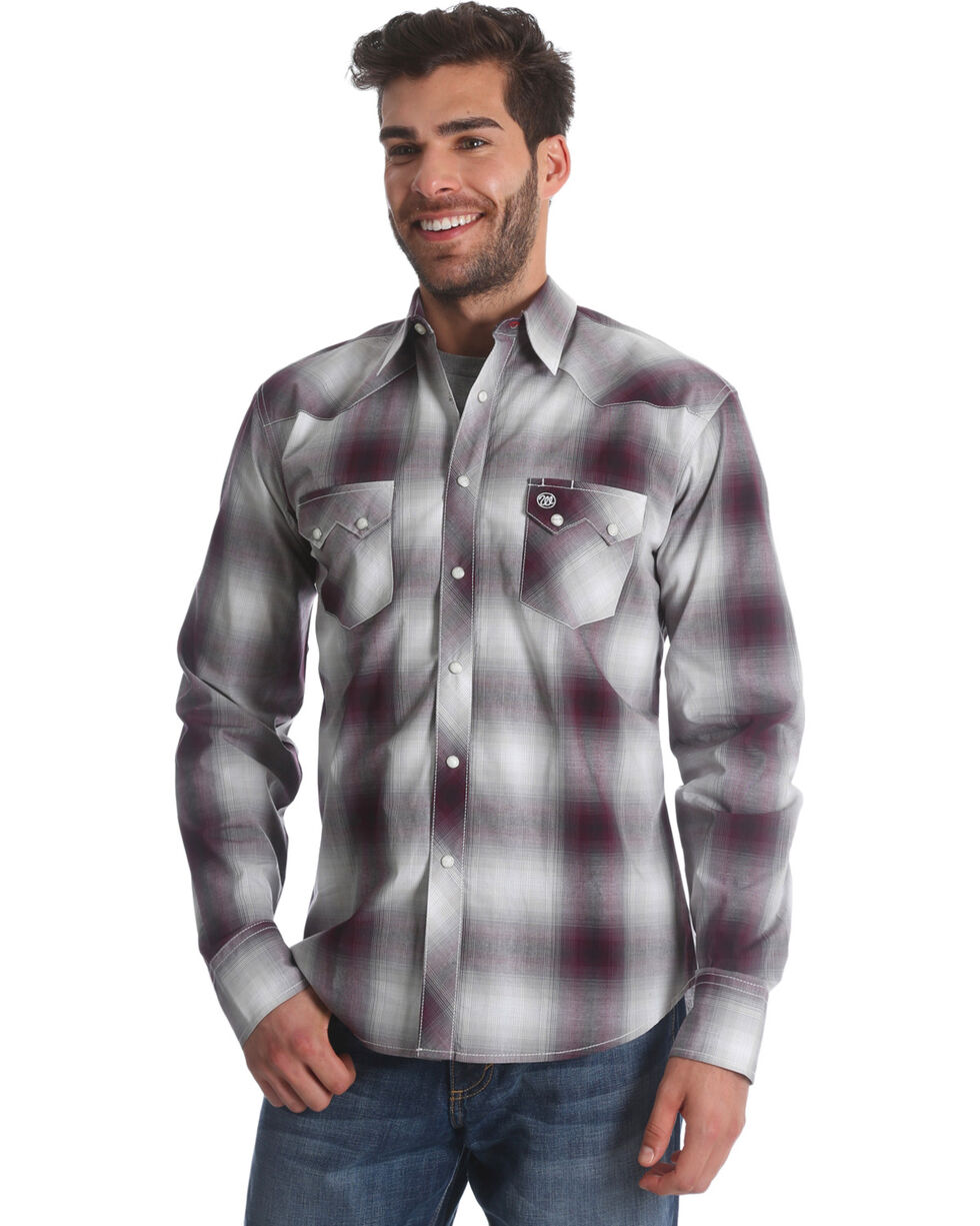 Wrangler Retro Men's Burgundy Plaid Long Sleeve Shirt, Burgundy, hi-res