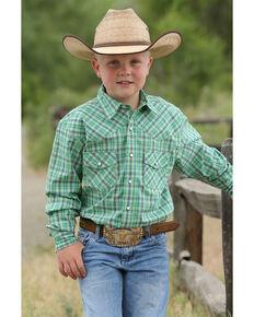 8ea4781e8 Cinch Boys Green Plaid Snap Long Sleeve Western Shirt , Green, hi-res