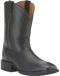Ariat Heritage Roper Boots - Wide Square Toe, Black, hi-res