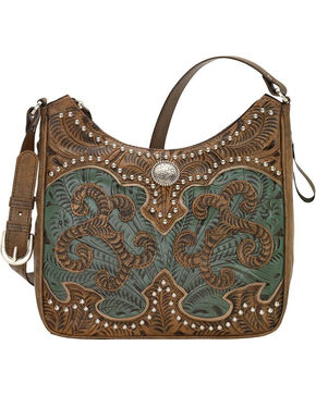 American West Women's Hand Tooled Concealed Carry Shoulder Bag, Distressed Brown, hi-res