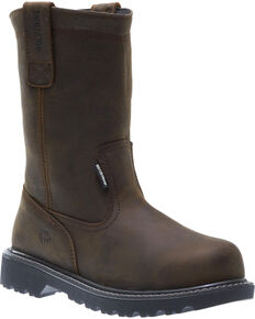 Wolverine Men's Floorhand Waterproof Wellington Work Boots, Dark Brown, hi-res