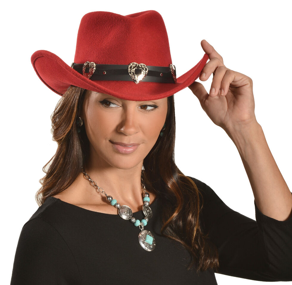 Julia Cowgirl Hat, Red, hi-res