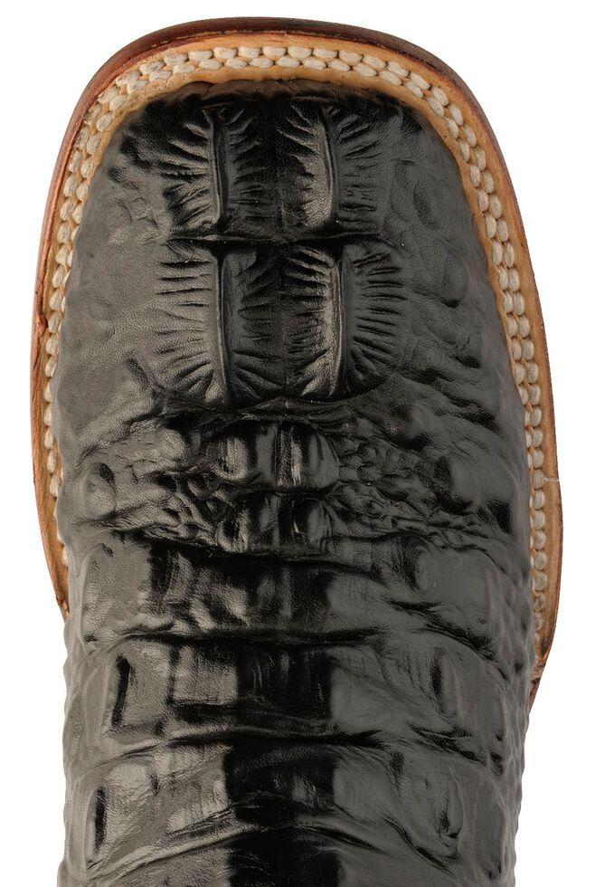 Ferrini Hornback Caiman Print Cowgirl Boots - Wide Square Toe, Black, hi-res