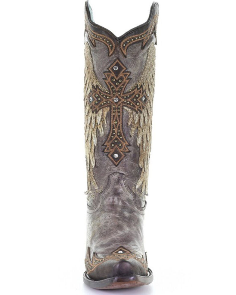 Corral Women's Tobacco Wings & Cross Western Boots - Snip Toe, Brown, hi-res