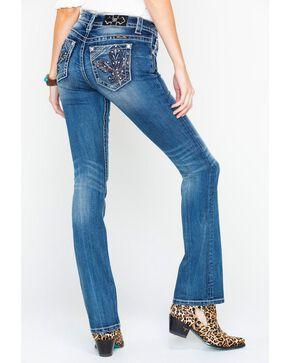 Miss Me Women's Fleur De Lis Boot Cut Jeans, , hi-res