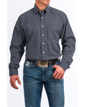 Cinch Men's Navy Geo Print Button Long Sleeve Shirt , Navy, hi-res