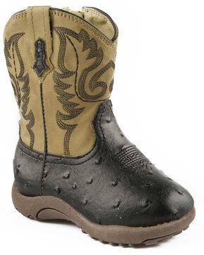 Roper Infant Boys' Black and Tan Ostrich Print Cowbabies Boots, Black, hi-res