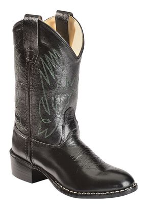 Old West Boys' Western Boots, Black, hi-res