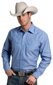 Stetson Solid Twill Snap Oxford Shirt, Blue, hi-res