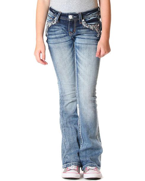 Grace in LA Girls' (4-6X) Indigo Faux Flap Jeans - Boot Cut , Indigo, hi-res