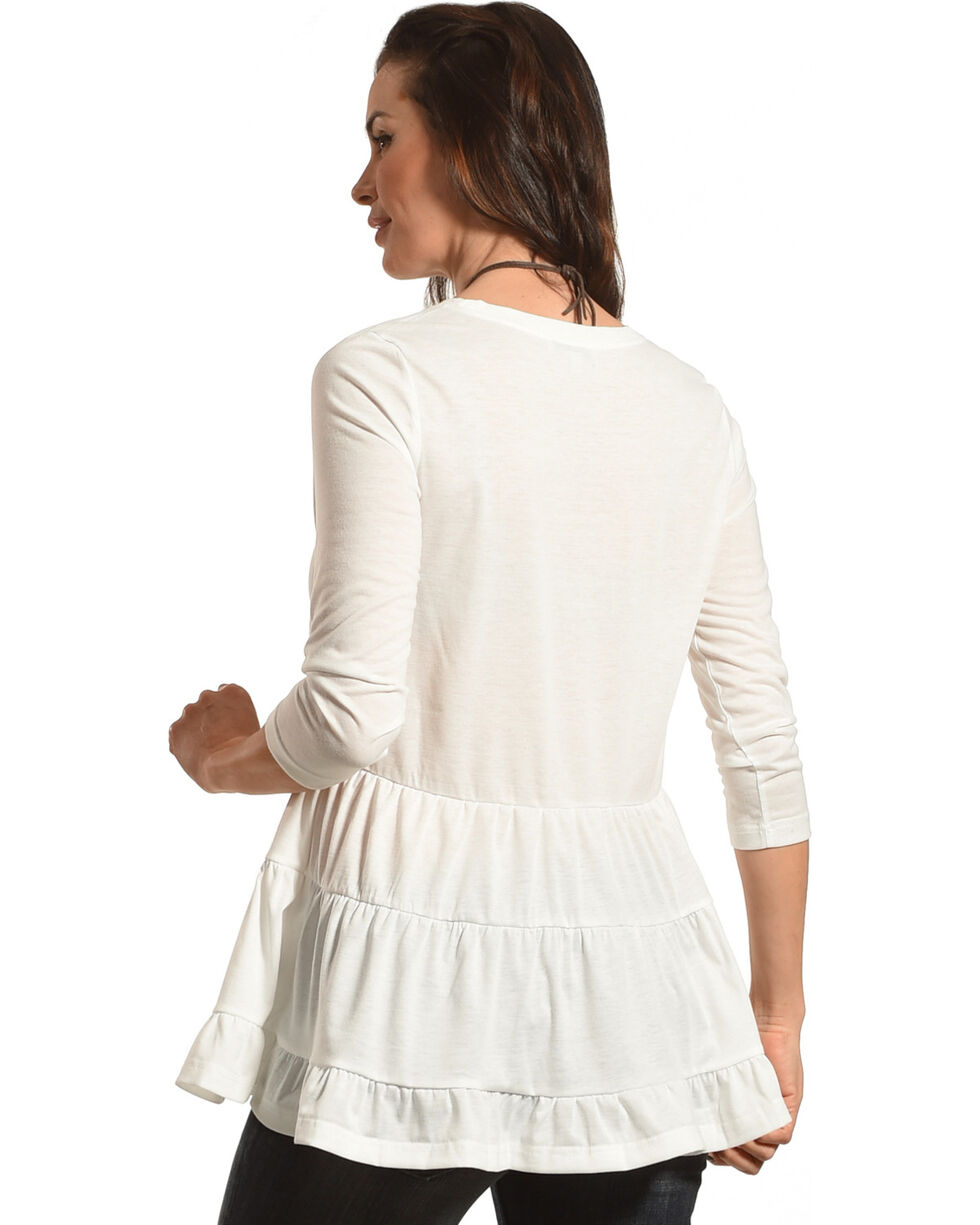 Polagram Women's White Ruffle Top , White, hi-res