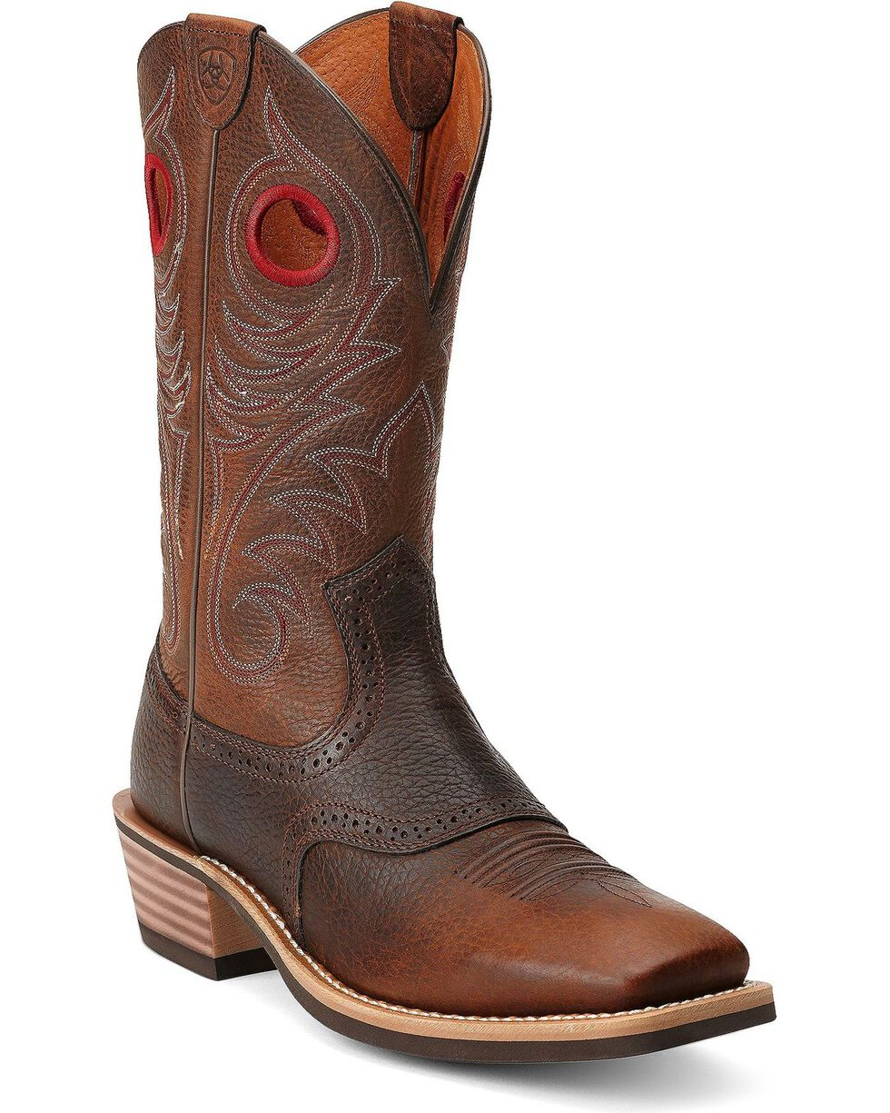 Ariat Heritage Rough Stock Cowboy Boots - Square Toe, Brown, hi-res