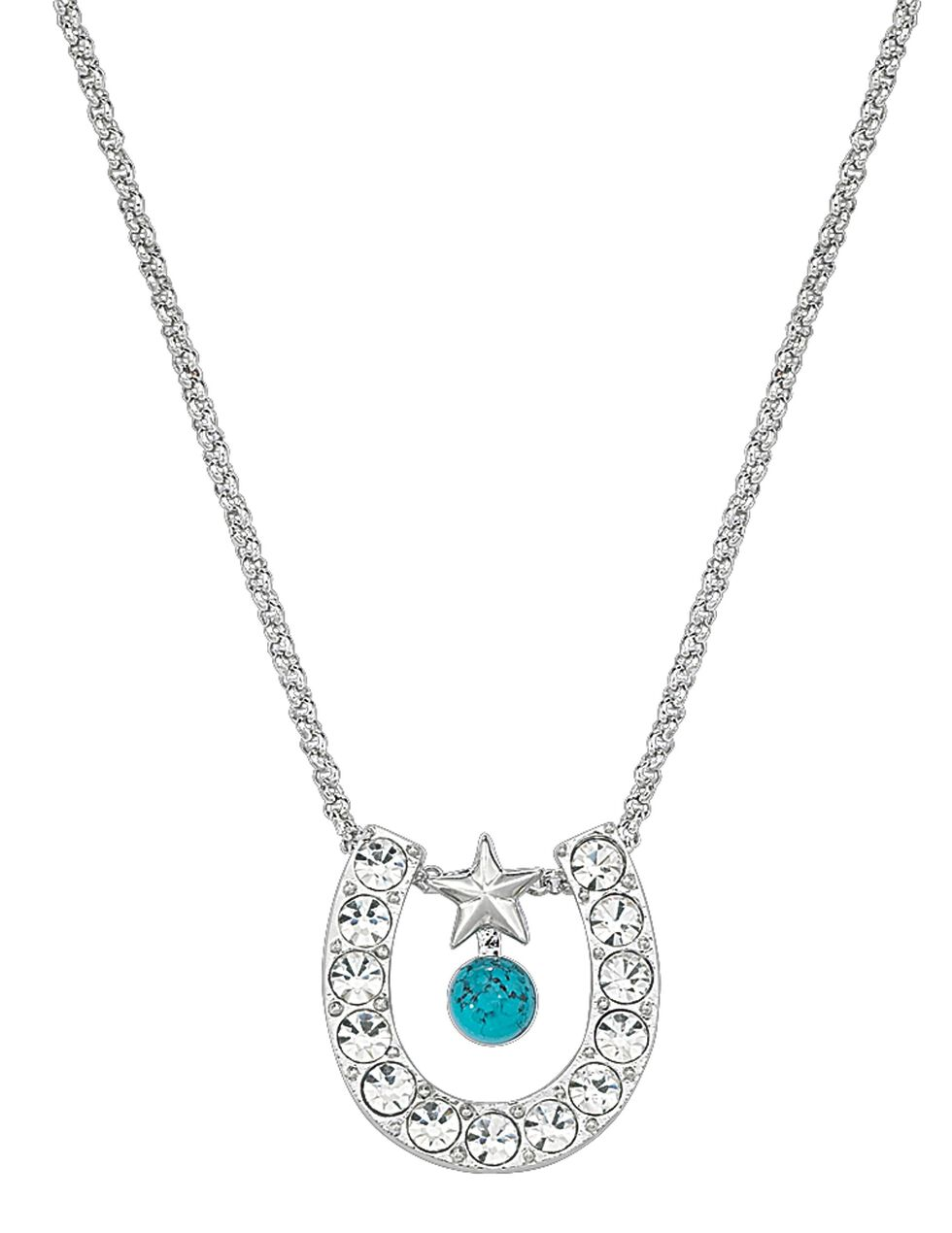 Montana Silversmiths Rhinestone Horseshoe with Turquoise Bead Necklace, Multi, hi-res