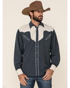Resistol Men's Navy Gwen Solid Piped Long Sleeve Western Shirt , Navy, hi-res