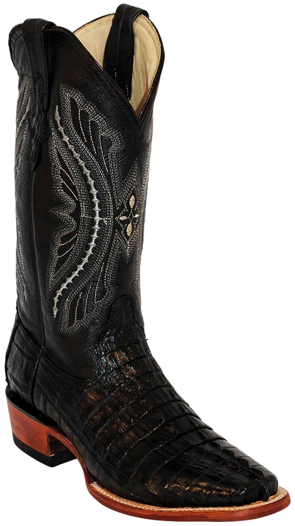 Ferrini Caiman Tail Exotic Cowboy Boots - Wide Square Toe, Black, hi-res