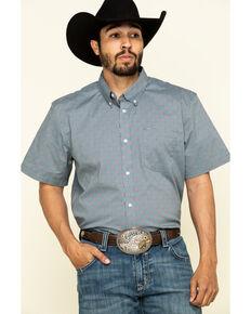 Cody James Core Men's Outlaw Check Geo Print Short Sleeve Western Shirt , Slate, hi-res