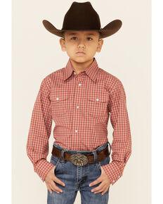 Wrangler Retro Boys' Wrinkle Resist Orange Check Plaid Long Sleeve Snap Western Shirt , Orange, hi-res