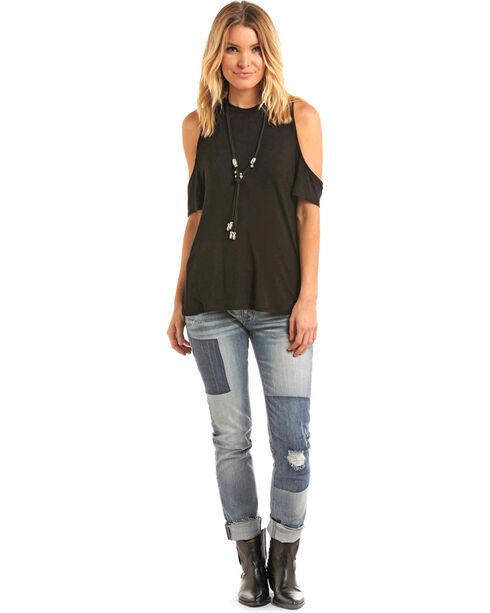 Panhandle Women's Cold Shoulder T-Shirt, Black, hi-res