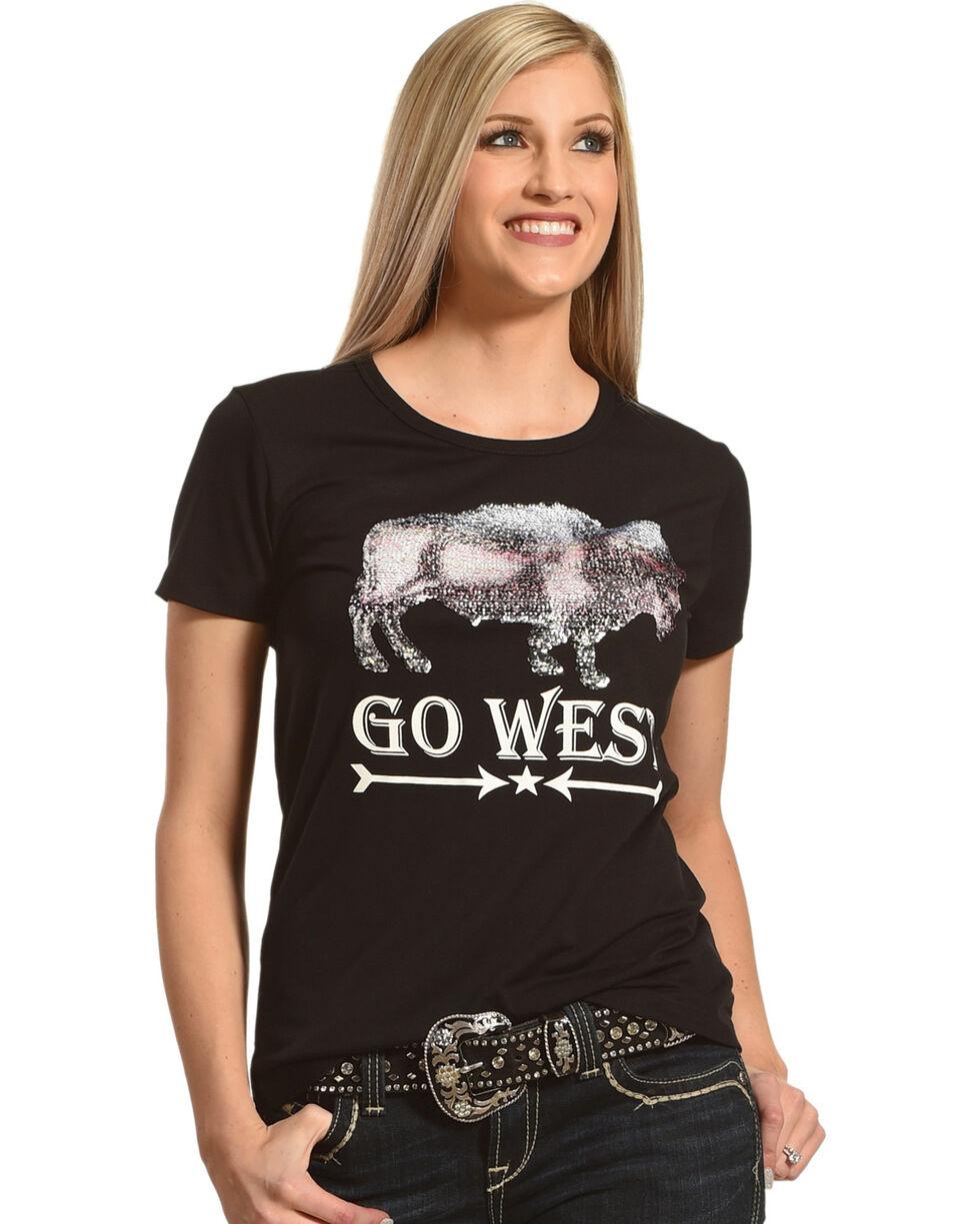 Angel Premium Women's Two-Way Sequin Go West Tee, Black, hi-res