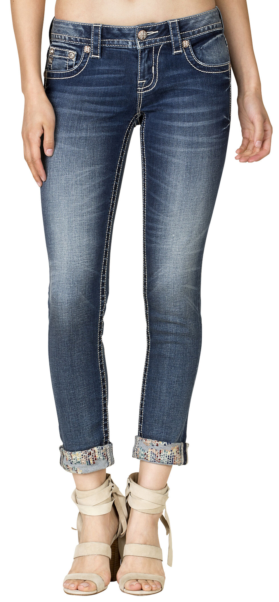 Miss Me Women's Silent Detail Cuffed Skinny Jeans, Blue, hi-res