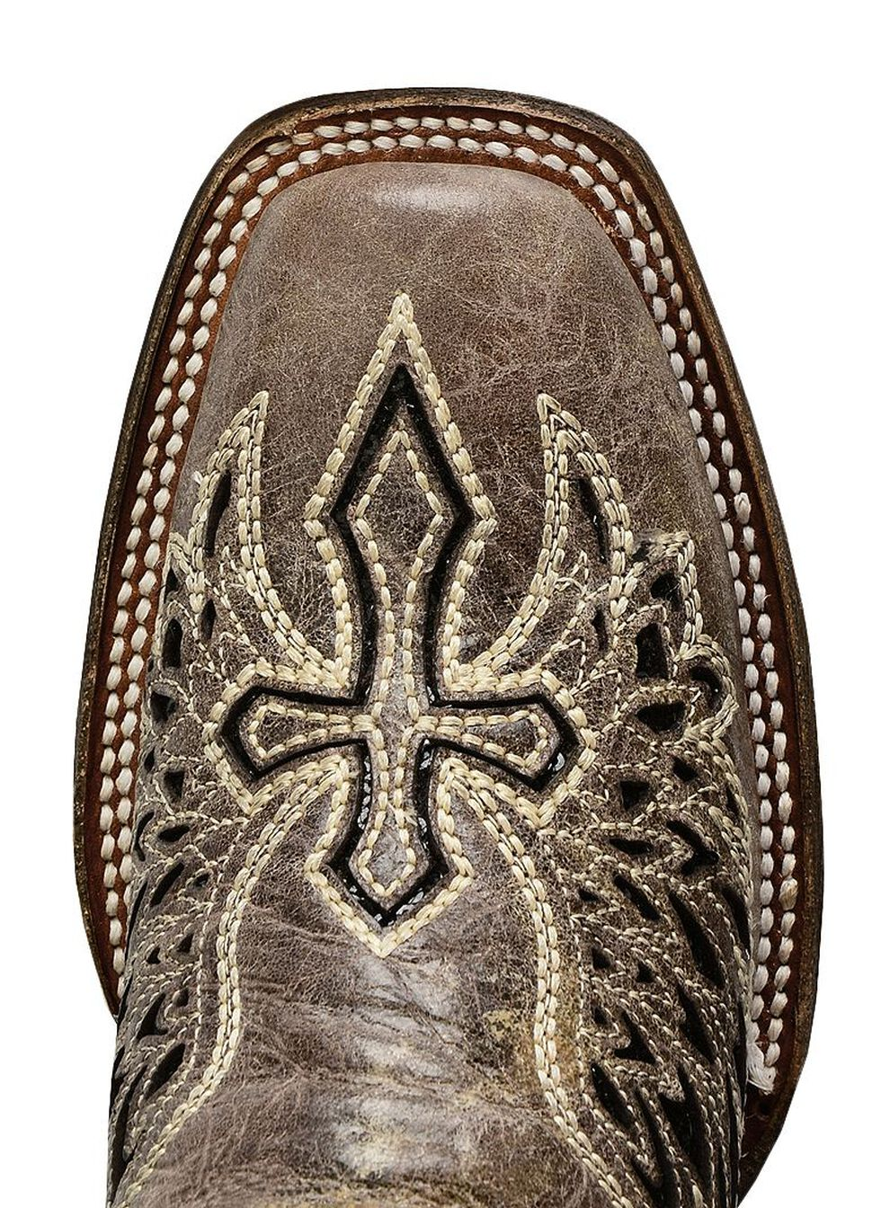 Corral Black Sequin Wing & Cross Inlay Cowgirl Boots - Square Toe, Black, hi-res