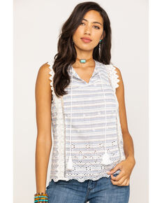 Miss Me Women's Light Blue Stripe Eyelet Top, Light Blue, hi-res
