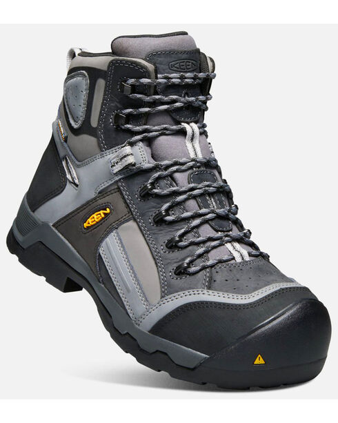 "Keen Men's Black Davenport Waterproof 6"" Boots - Composite Toe , Black, hi-res"