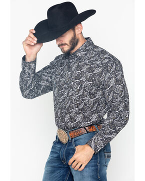 Ely Cattleman Men's Long Sleeve Bold Paisley Print Shirt - Big and Tall , Black, hi-res