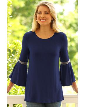 Wrangler Women's Flutter Sleeve Top, Navy, hi-res