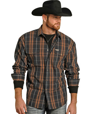 Powder River Outfitters Brown Bandera Brushed Plaid Shirt , Brown, hi-res