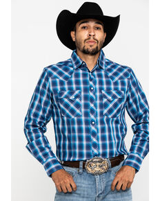 Wrangler Men's Navy Plaid Fashion Snap Long Sleeve Western Shirt , Navy, hi-res