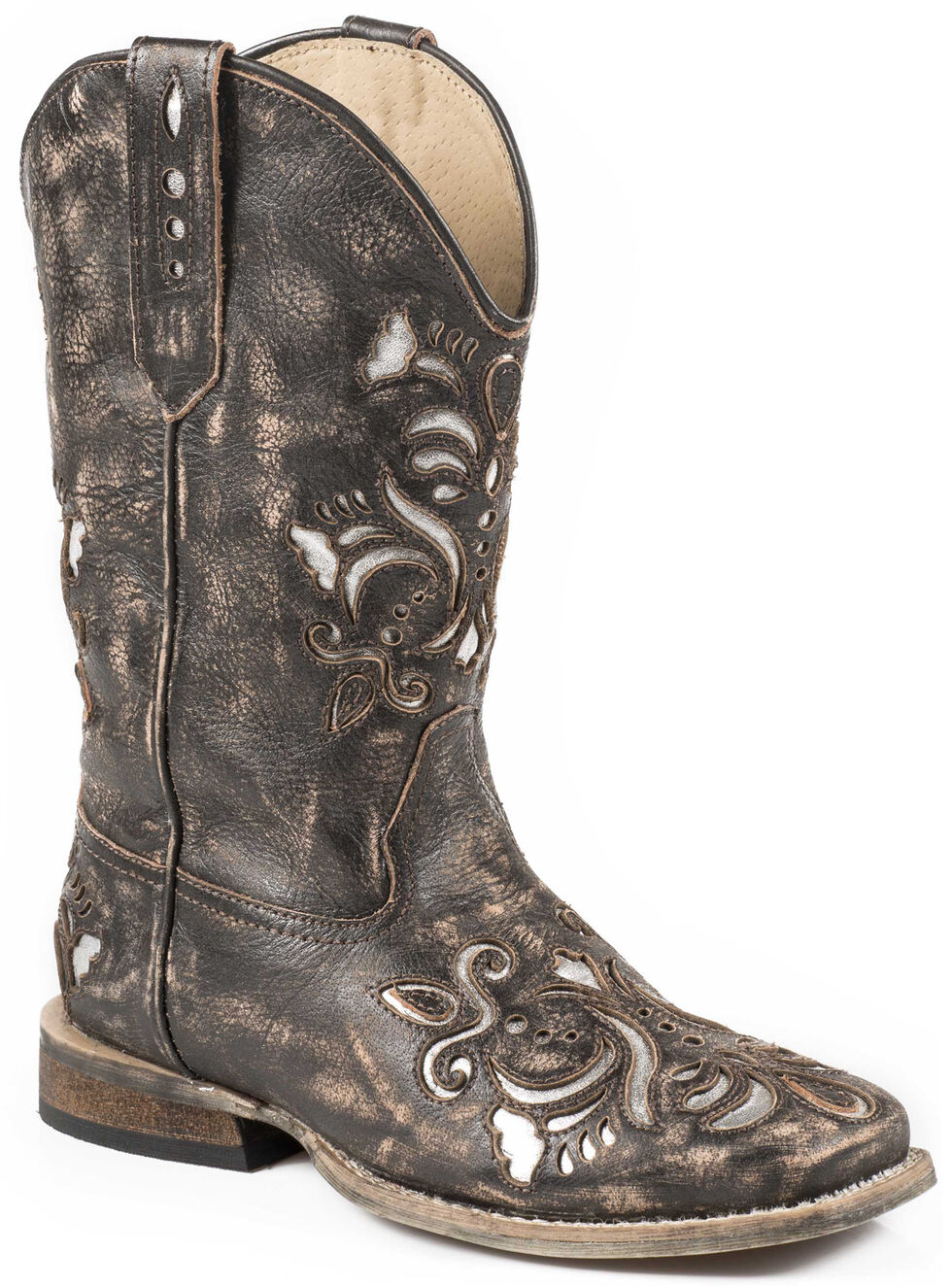 Roper Girls' Belle Silver Underlay Cowgirl Boots - Square Toe, Brown, hi-res
