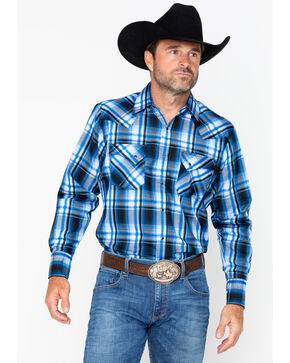 Ely Cattleman Men's Western Woven Textured Plaid Shirt , Blue, hi-res