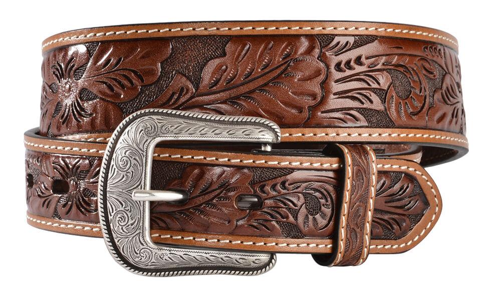 3D Antique Floral Tooled Belt, Brown, hi-res