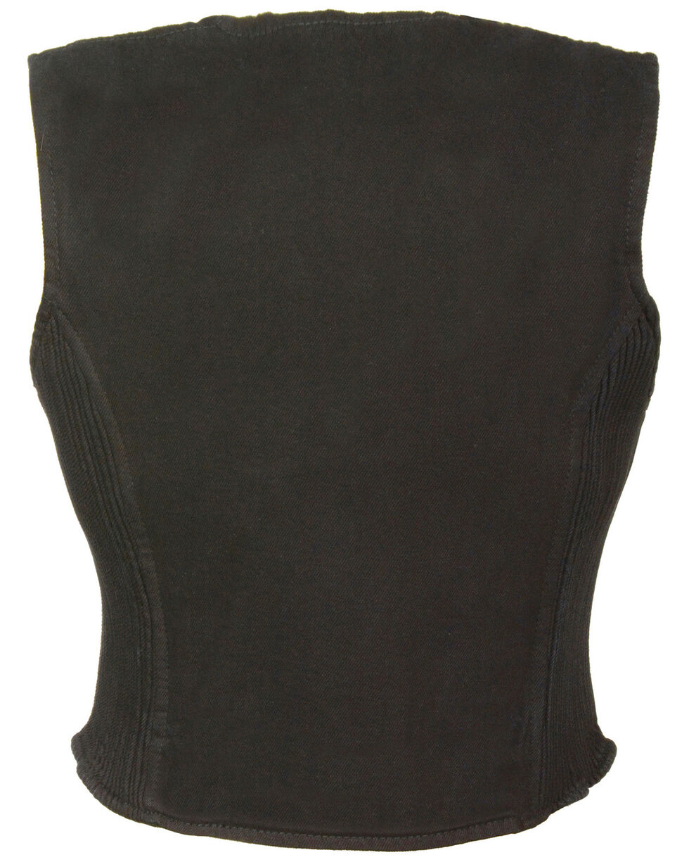 Milwaukee Leather Women's Side Stretch Zipper Front Denim Vest - 3X, , hi-res