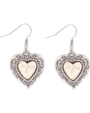 Shyanne Women's Heart Bone Earrings, Silver, hi-res