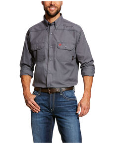 Ariat Men's FR Featherlight Button Long Sleeve Work Shirt - Tall , Grey, hi-res