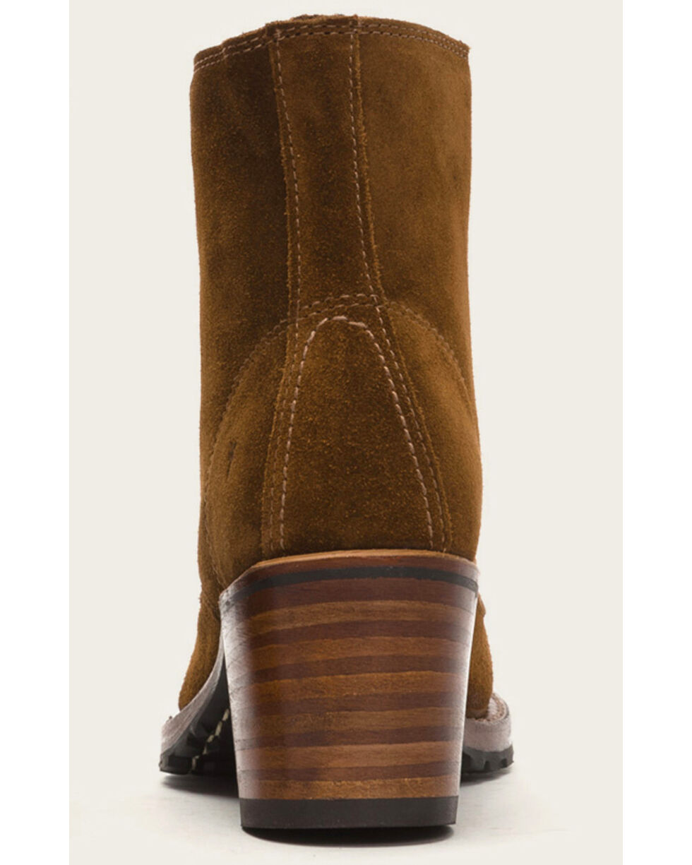 Frye Women's Light Brown Sabrina 6G Lace Up Boots - Round Toe , Lt Brown, hi-res