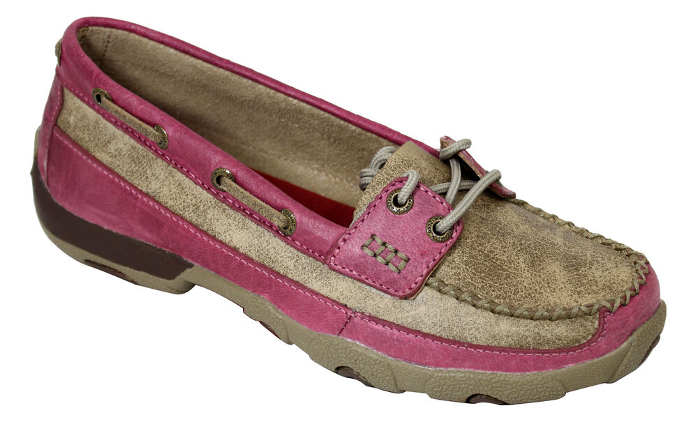 Twisted X Women's Tan and Pink Driving Mocs, Tan, hi-res